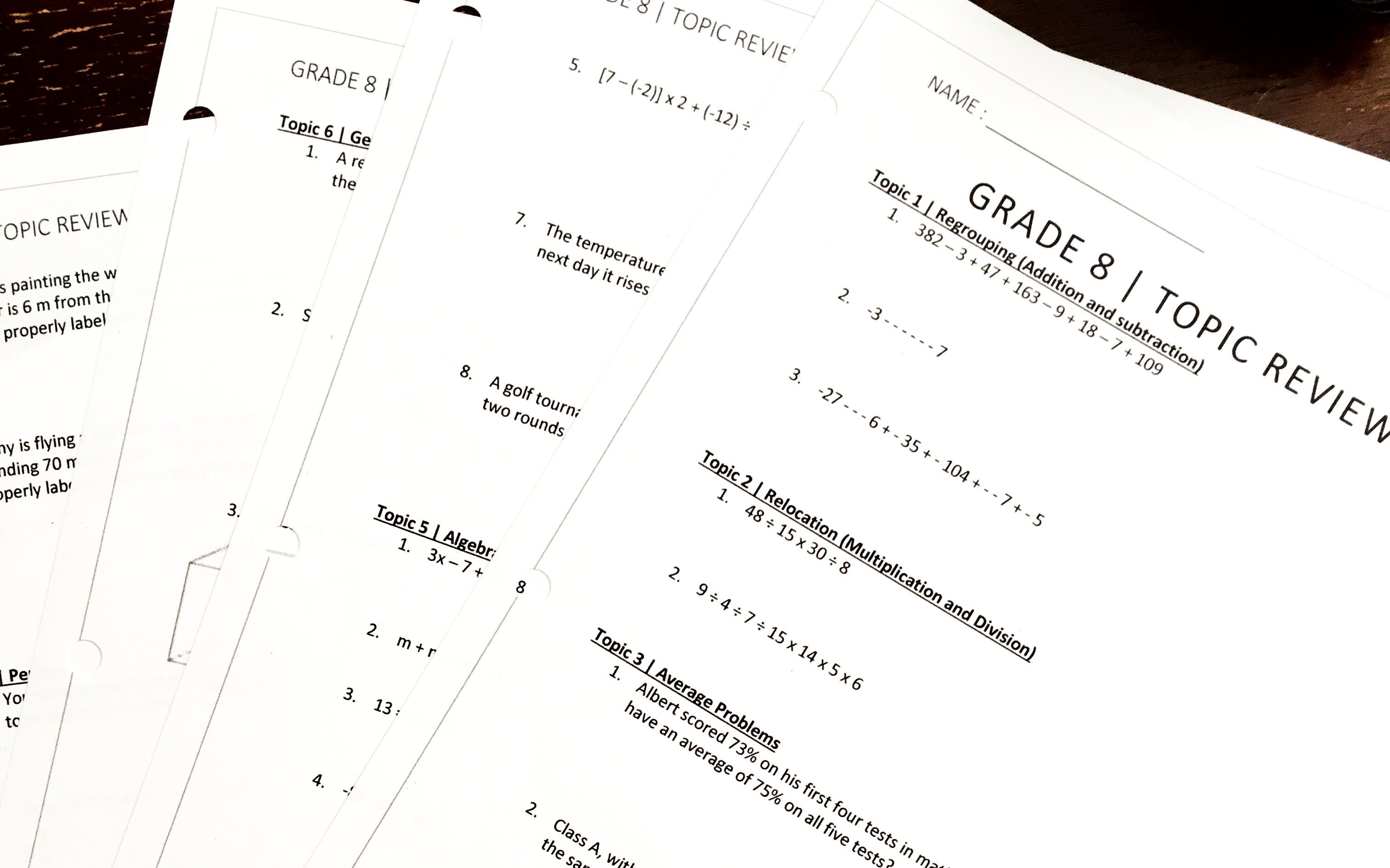 Grade 8 Math Summer Review Package
