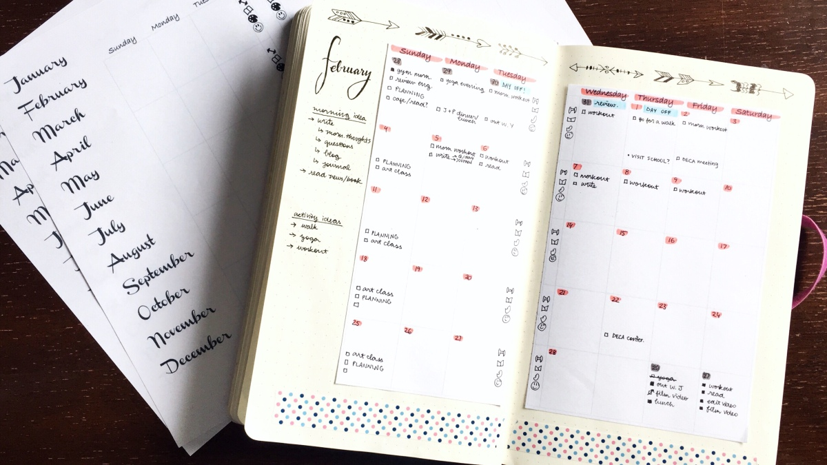 organization || Monthly Bujo Spread Printables