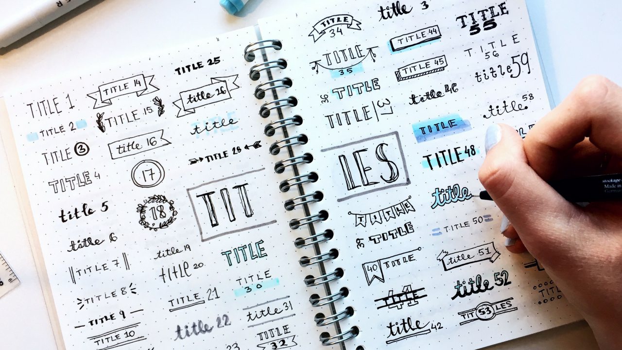 art || 120 title and divider styles + FREE printable | ideas for your notes and bujo