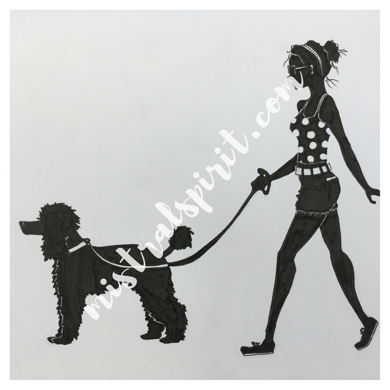 girl with poodle